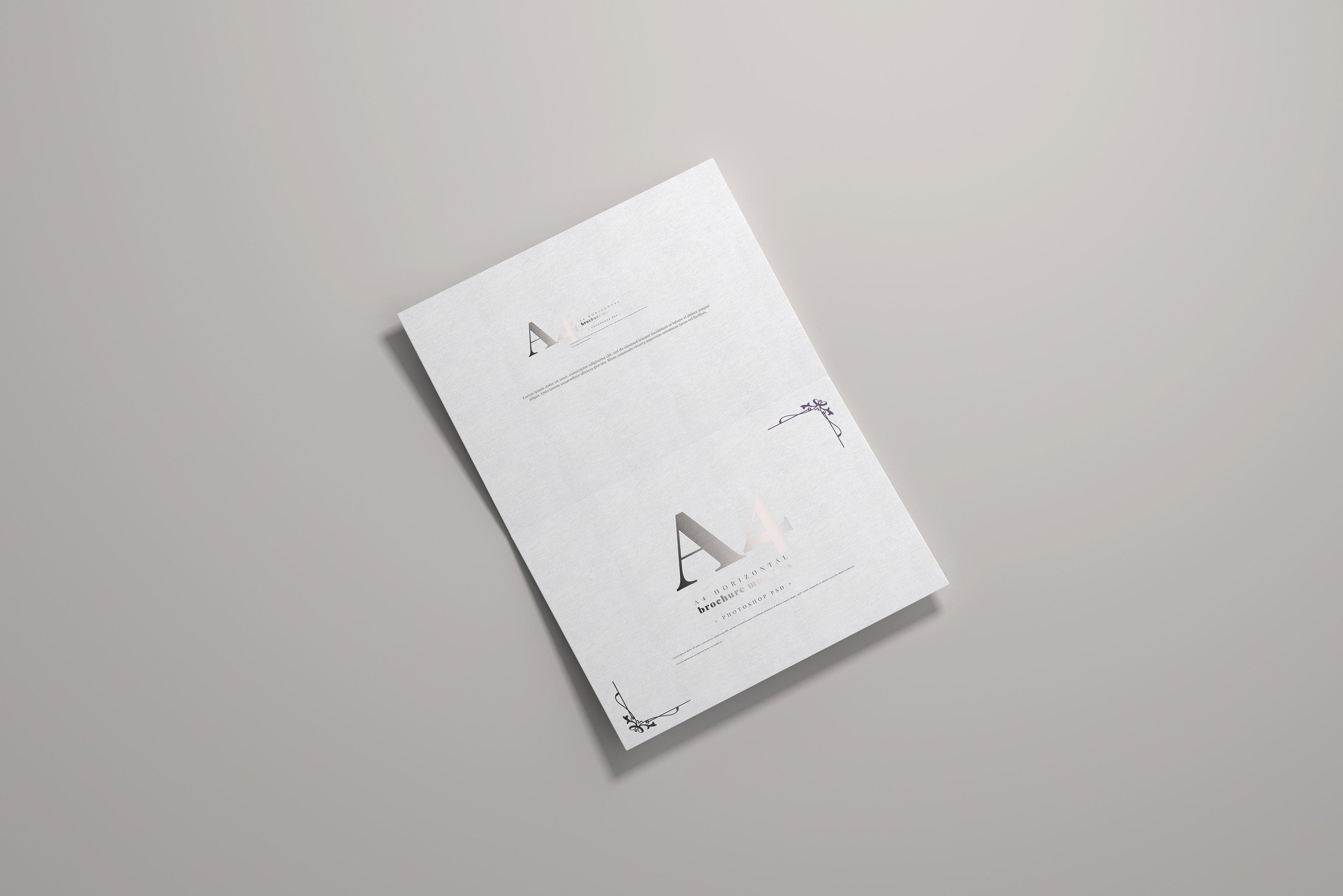 8款烫印效果A4横向两折页小册子设计展示贴图PSD样机模板 A4 Bi-Fold Horizontal Mockups插图(6)
