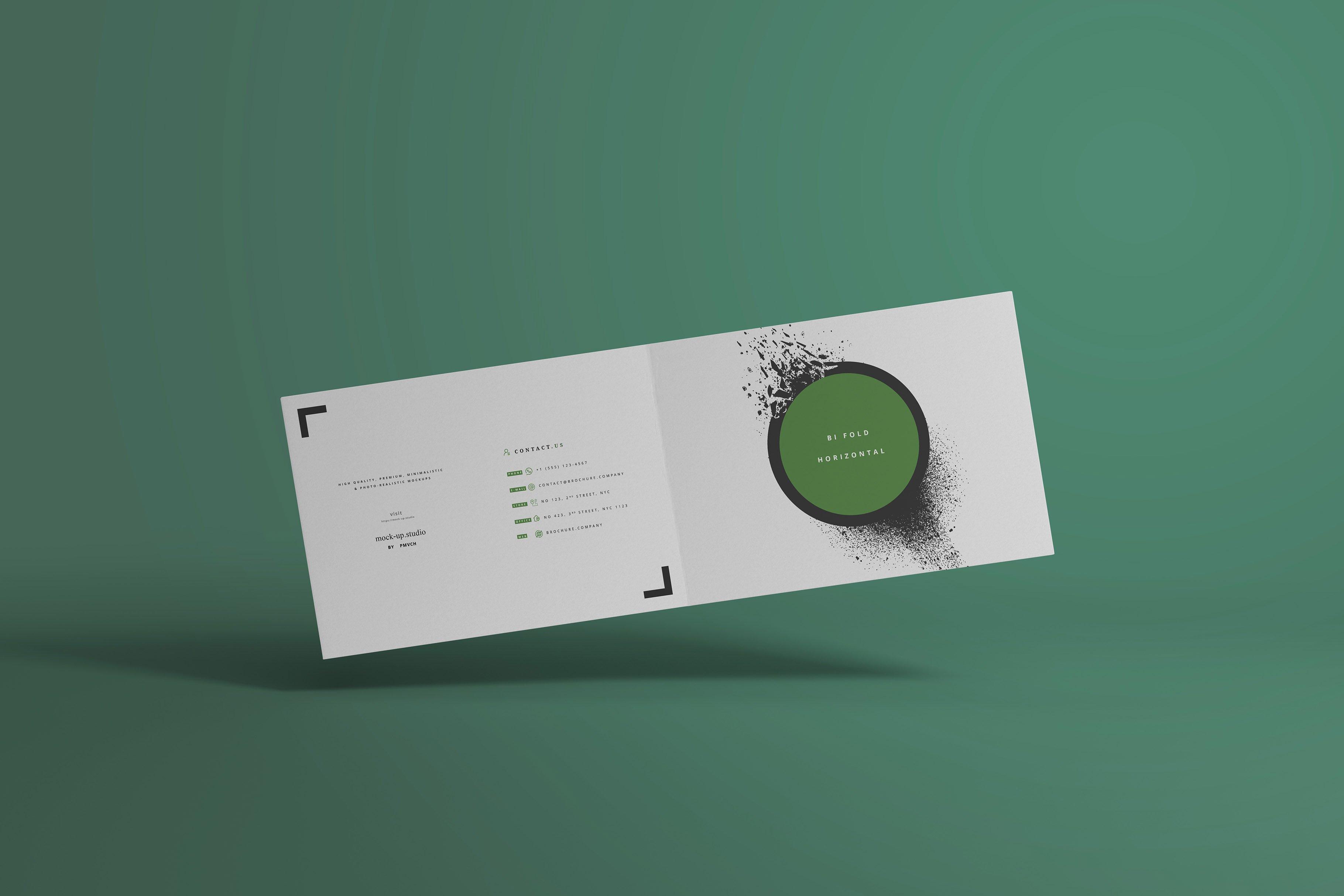 8款A4两折页小册子设计展示贴图样机模板 A4 Bi-Fold Horizontal Mockups插图(7)