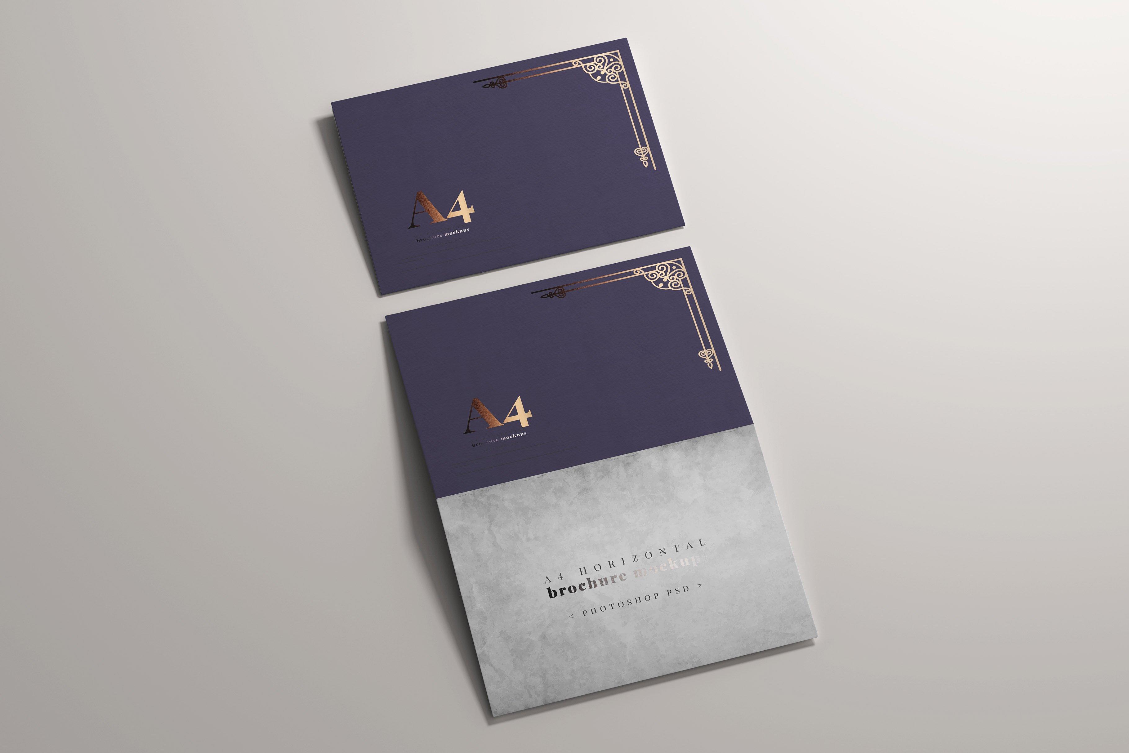 8款烫印效果A4横向两折页小册子设计展示贴图PSD样机模板 A4 Bi-Fold Horizontal Mockups插图(7)