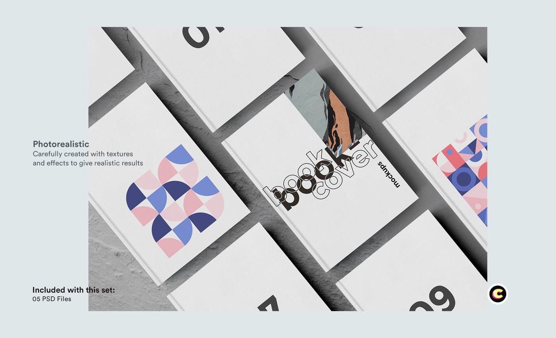 22款精装书画册封面设计展示样机PSD模板 Book Cover Mockups Pack插图(7)