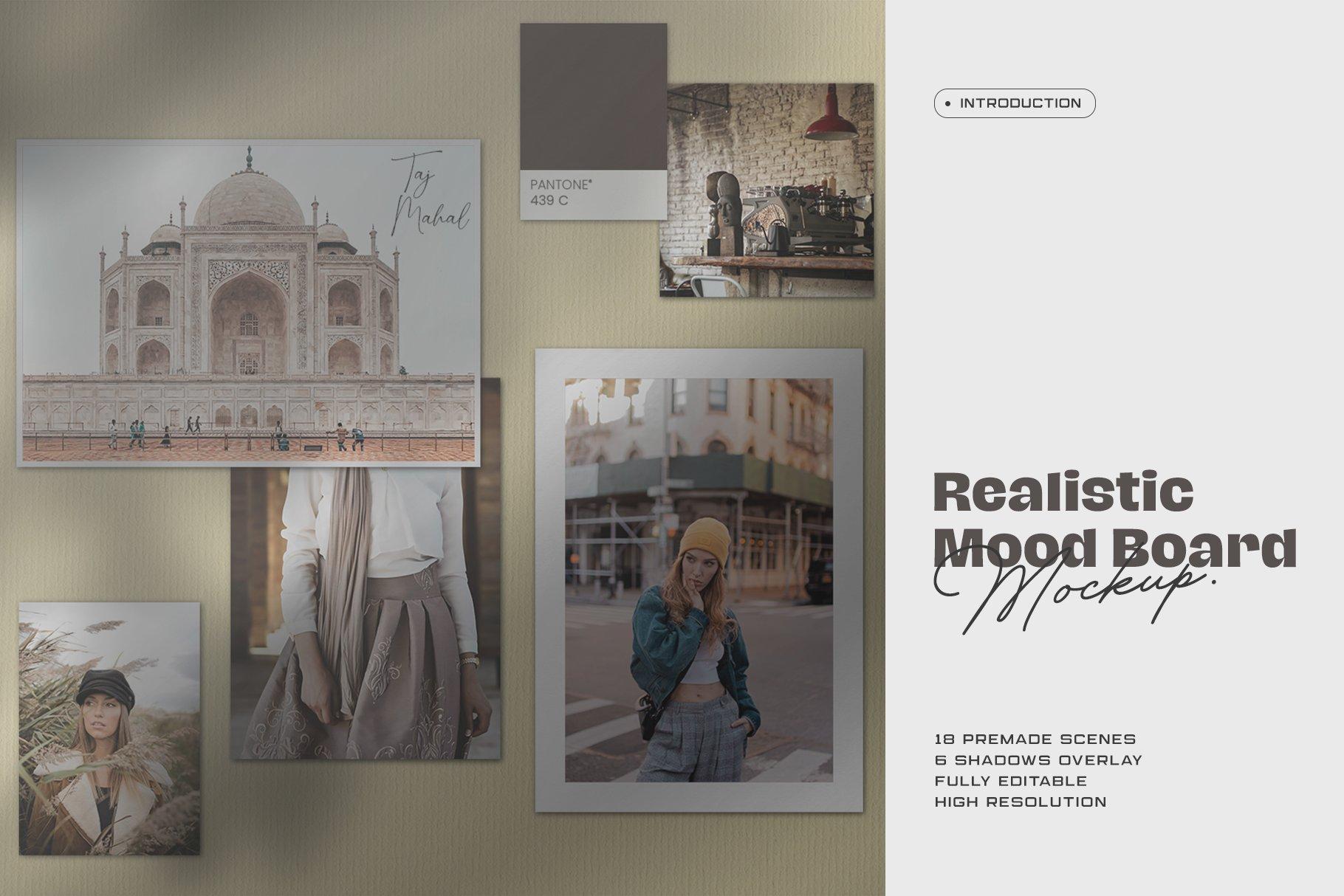 优雅剪贴相片情绪版卡片拼贴设计智能贴图展示样机 Moodboard Mockup Kit插图