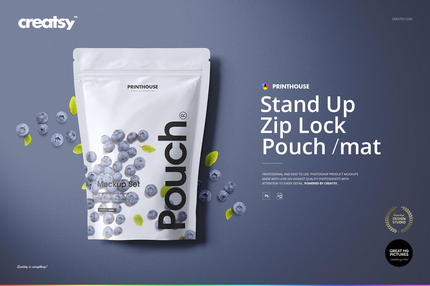 简约立式拉链锁食品自封袋塑料袋设计展示样机合集 Stand Up Pouch (mat) Mockup Set插图