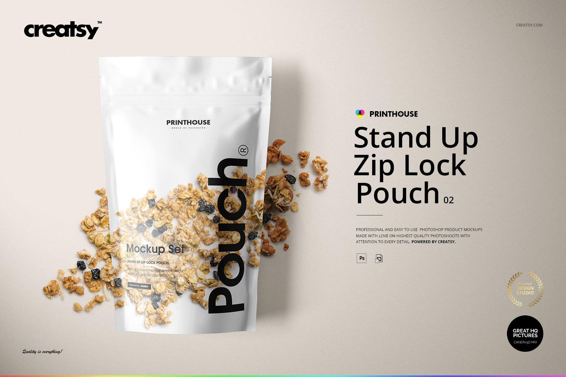 简约立式拉链锁食品自封袋塑料袋设计展示样机合集 Stand Up Pouch Mockup Set 2插图