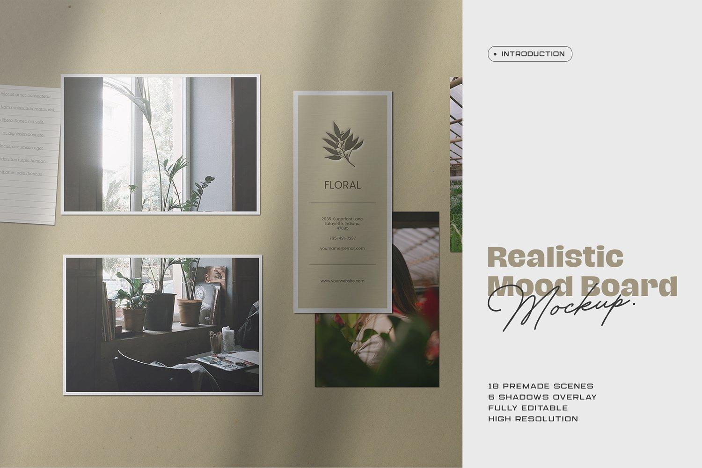 潮流剪贴相片情绪版卡片设计展示样机PSD模板 Moodboard Mockup Kit插图
