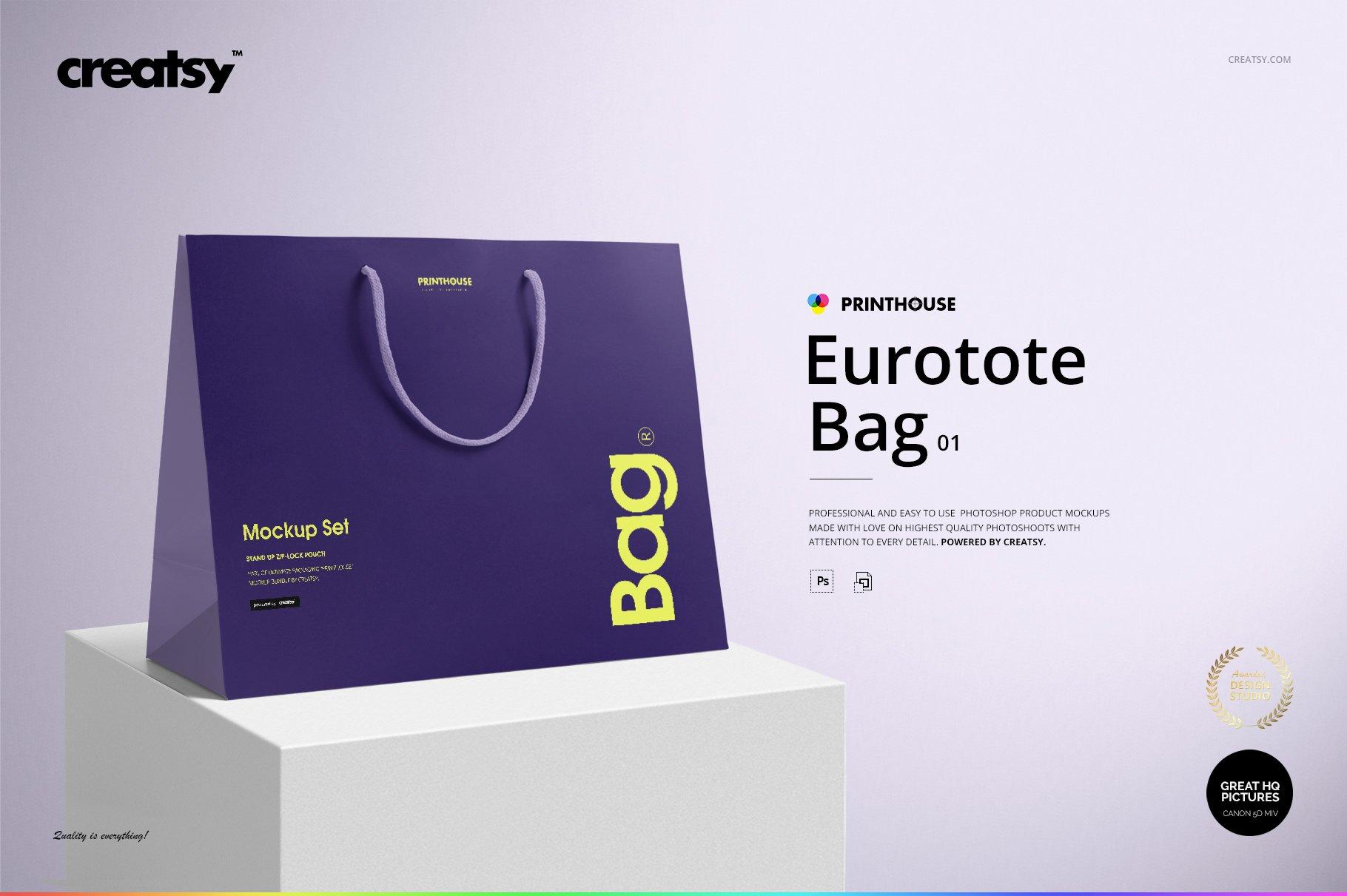 极简购物手提纸袋设计展示贴图样机PS设计素材 Eurotote Bag Mockup Set 1插图