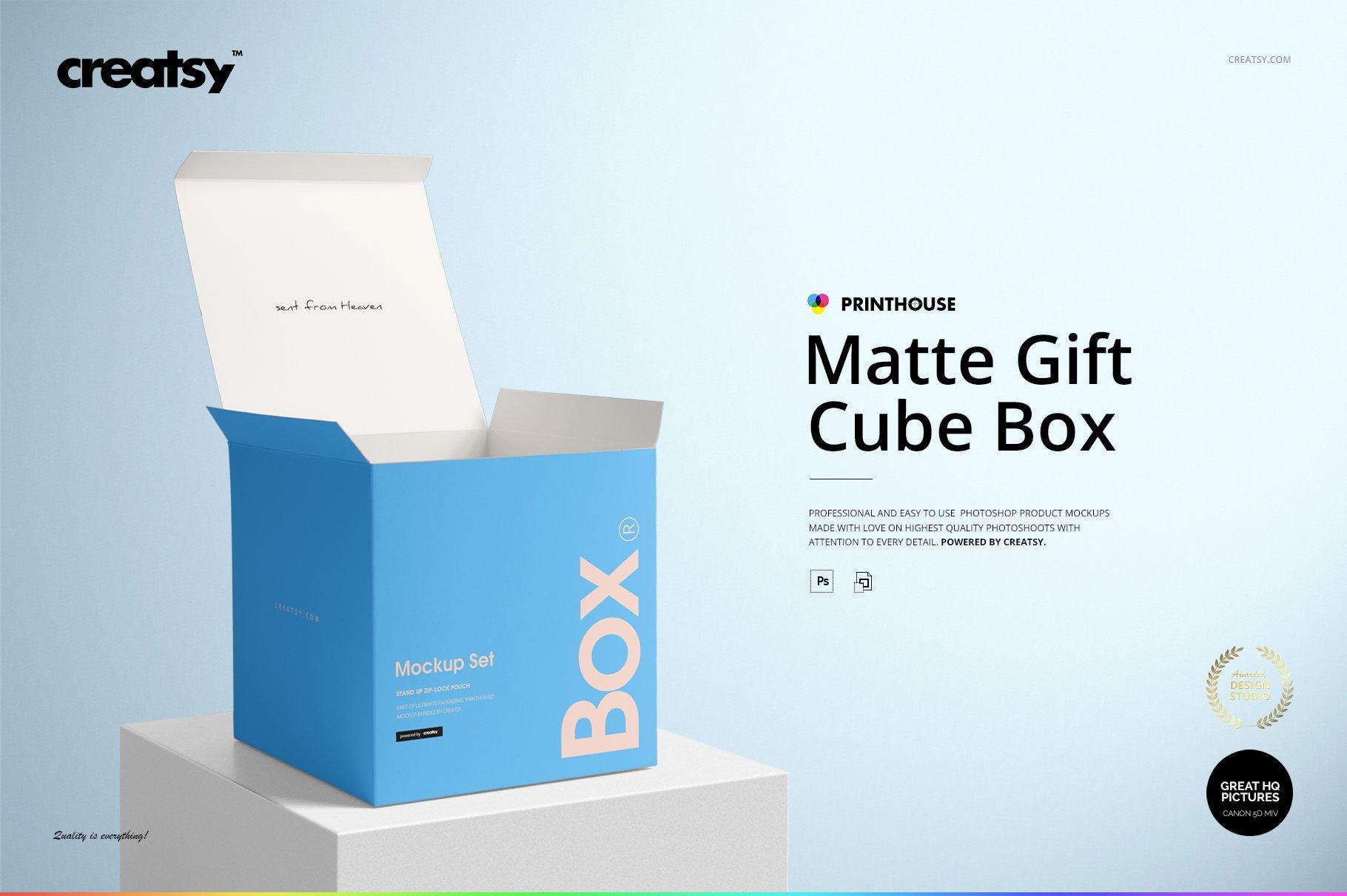 方形哑光产品礼品包装纸盒设计贴图样机套装 Matte Gift Square Box Mockup Set插图