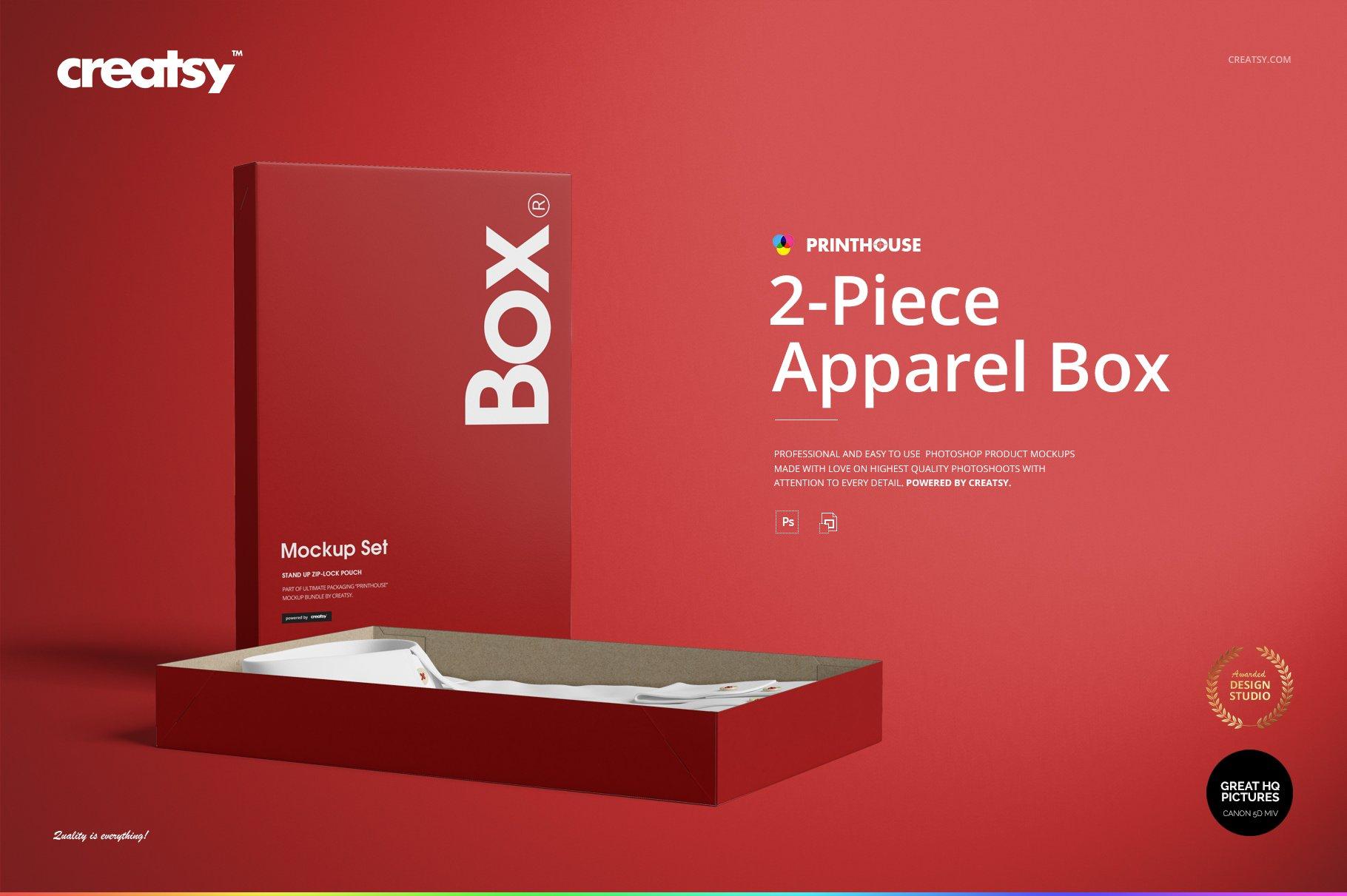 现代时尚服装纸盒设计展示贴图样机模板合集 2-Piece Apparel Box Mockup Set插图