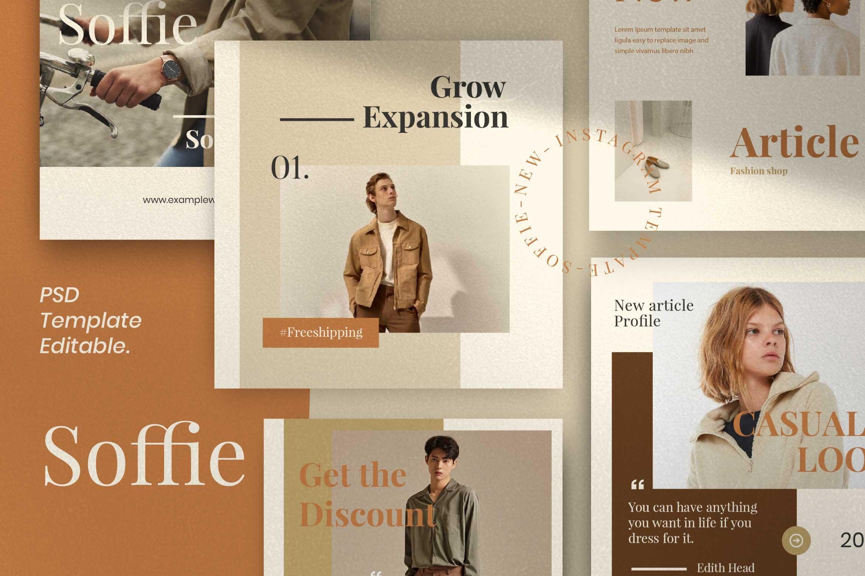 现代时尚服装品牌摄影推广新媒体电商海报模板 Soffie – Fashion Brand Social Media插图