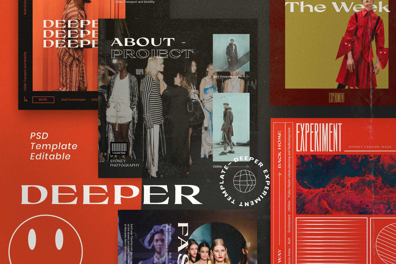 潮流服装摄影作品集推广新媒体电商海报模板 Deeper – Hype Brand Social Media插图