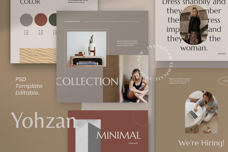 时尚优雅服装品牌推广新媒体电商海报设计PSD模板 Yohzan Instagram Post & Story Brand插图