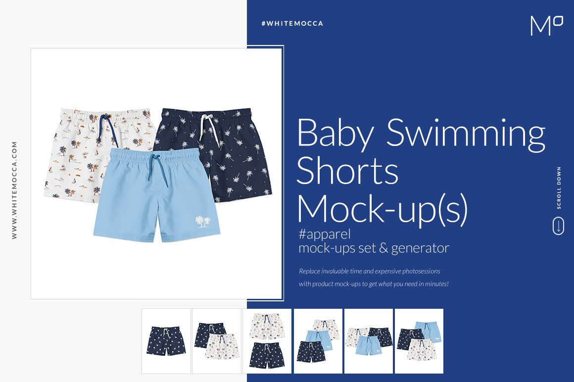 婴儿游泳短裤裤衩印花图案设计展示样机套装 Baby Swimming Shorts Mockups Set插图