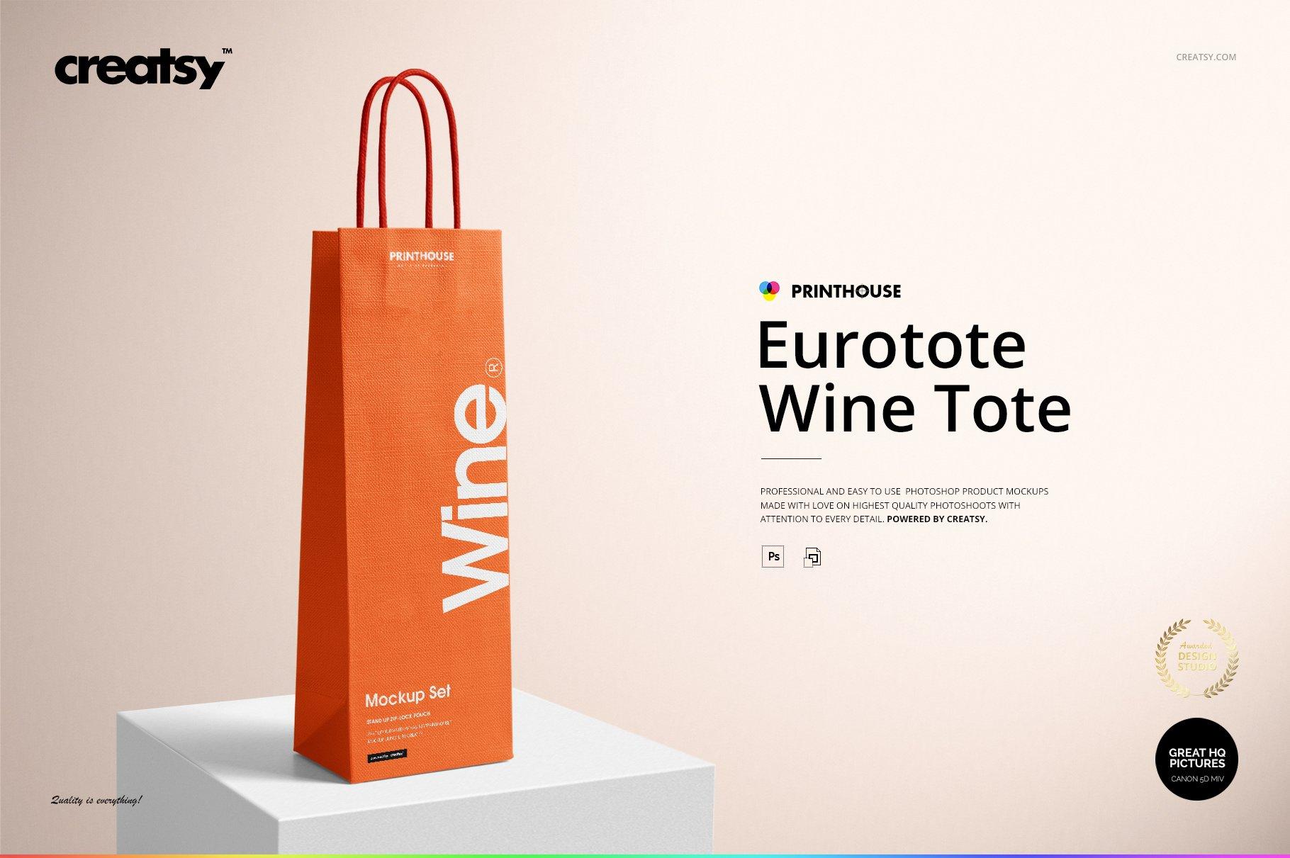 [淘宝购买] 精美葡萄酒手提袋设计展示贴图样机套装 Eurotote Wine Tote Bag Mockup Set插图