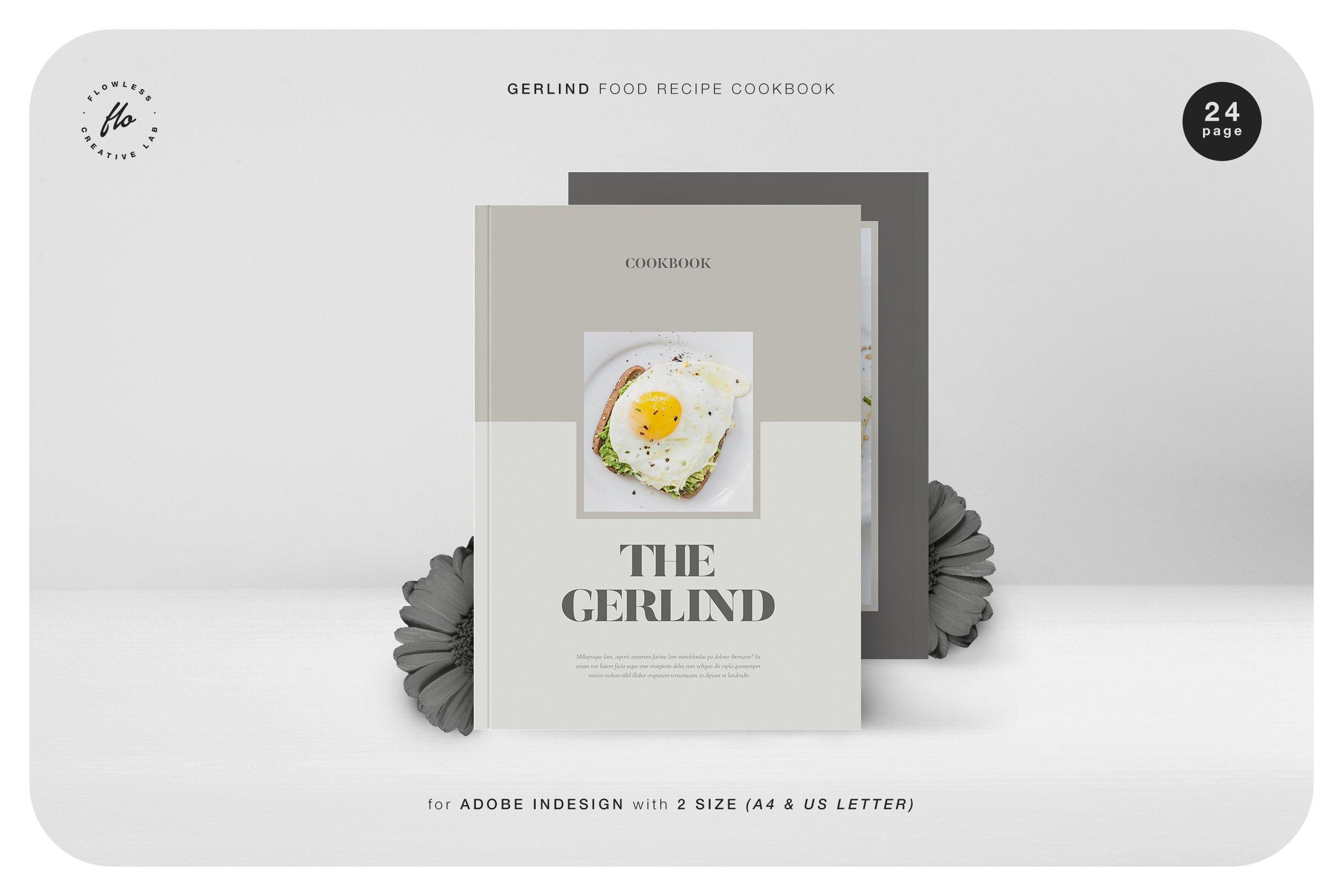 美食食谱菜单设计INDD画册模板 GERLIND Food Recipe Cookbook插图