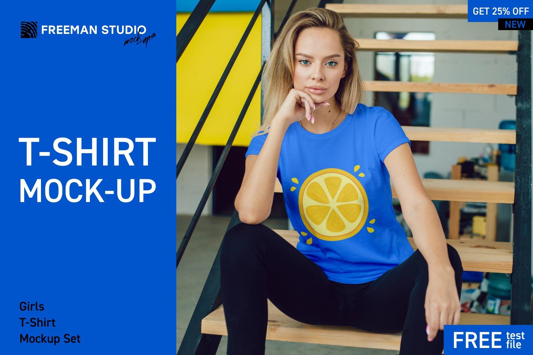 12个女式T恤半袖衫印花图案设计展示样机模板 T-Shirt Mockup Set插图