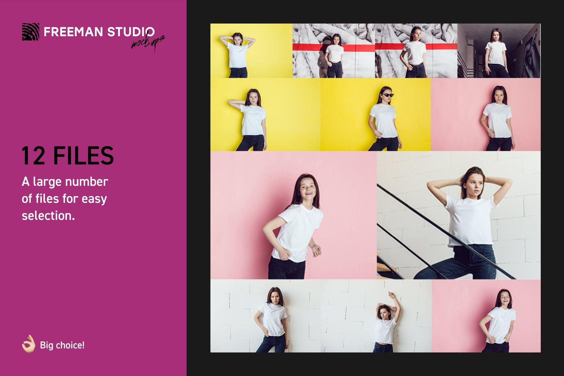 青少年T恤半袖衫印花图案设计展示样机合集 Teenager T-Shirt Mockup Set插图(1)