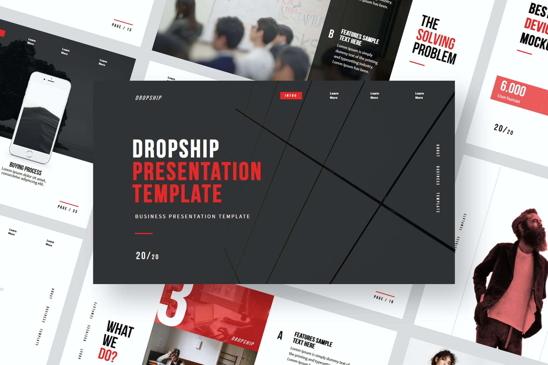简约服装摄影作品集演示文稿设计模板 Dropship – Powerpoint Template插图