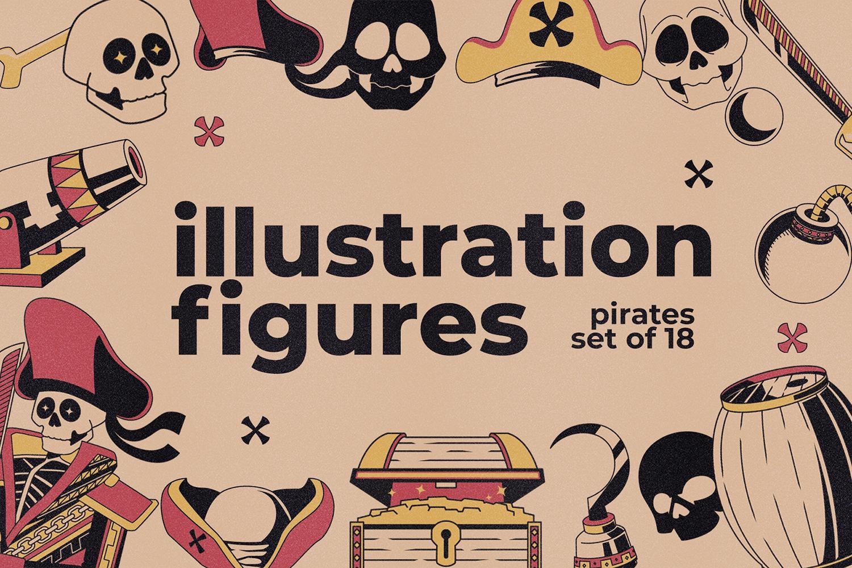 海盗元素徽标LOGO插图设计矢量素材 Illustration & Logo Pack V1插图
