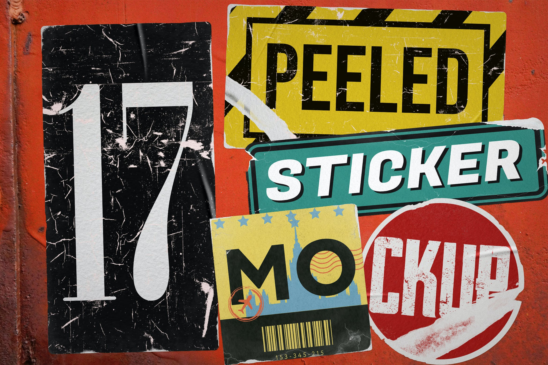 17款褶皱破裂不干胶标签设计展示样机模板 Peeled Sticker Mockup插图