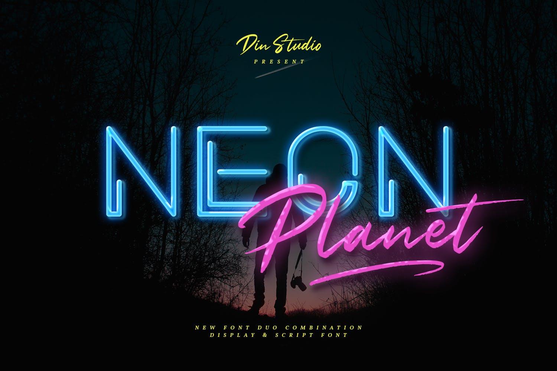 现代未来派手写英文字体素材 Neon Planet – Display Font Duo插图