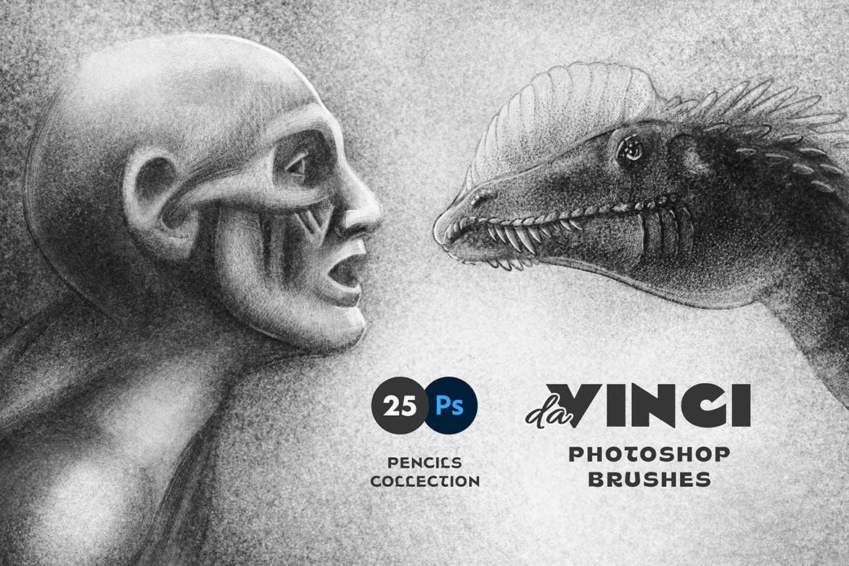 25款专业铅笔素描草图绘画PS笔刷素材套装 Pencil Photoshop Brushes插图