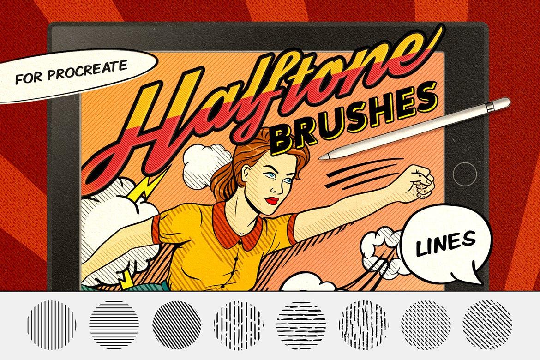 21款复古半调磨损线条画笔Procreate笔刷素材 Vintage Comics: Line Procreate Brushes插图