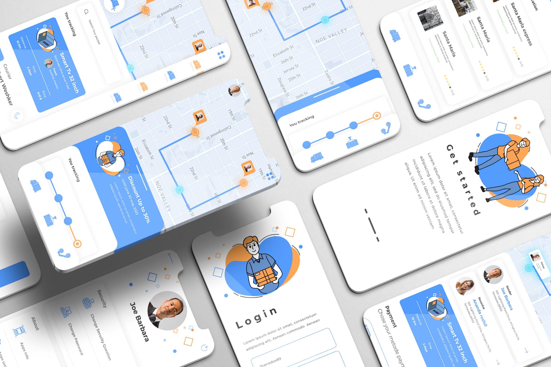 快递物流送货iOS APP应用程序设计UI套件 LogTrek UI Kit – Logistic Services Apps插图