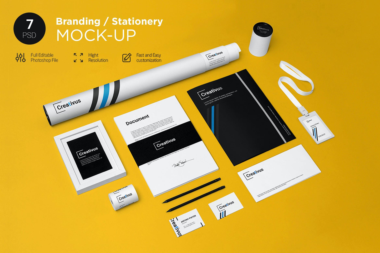 7款品牌LOGO设计办公用品展示贴图样机 Branding Stationery Mockup插图