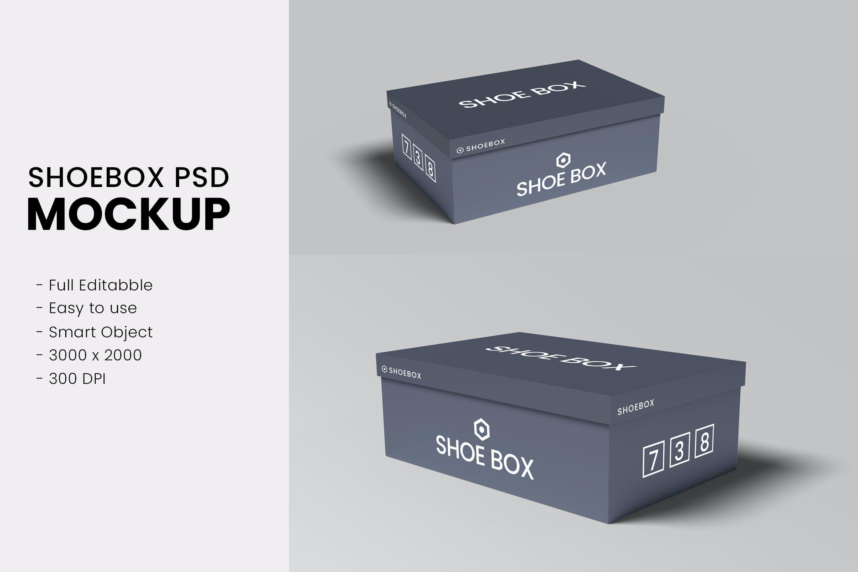 极简鞋盒设计展示贴图样机模板 Shoe Box Mockups Vol 01插图