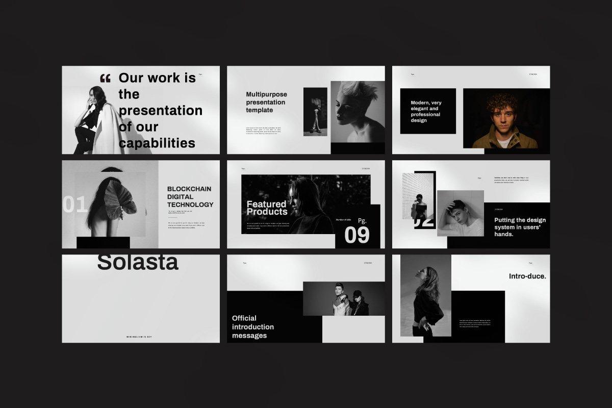 黑白调摄影作品集设计演示文稿模板 Solasta – Powerpoint插图(9)