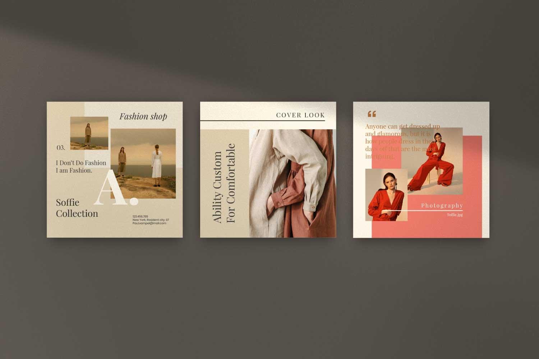 现代时尚服装品牌摄影推广新媒体电商海报模板 Soffie – Fashion Brand Social Media插图(9)