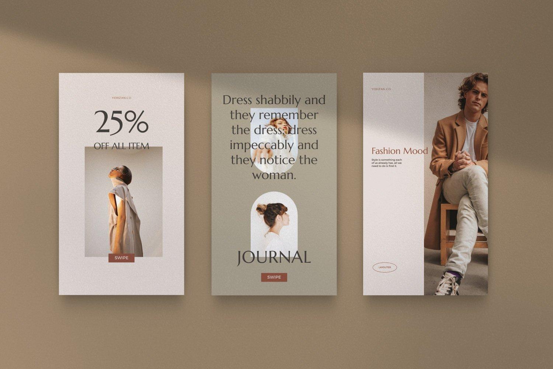 时尚优雅服装品牌推广新媒体电商海报设计PSD模板 Yohzan Instagram Post & Story Brand插图(9)
