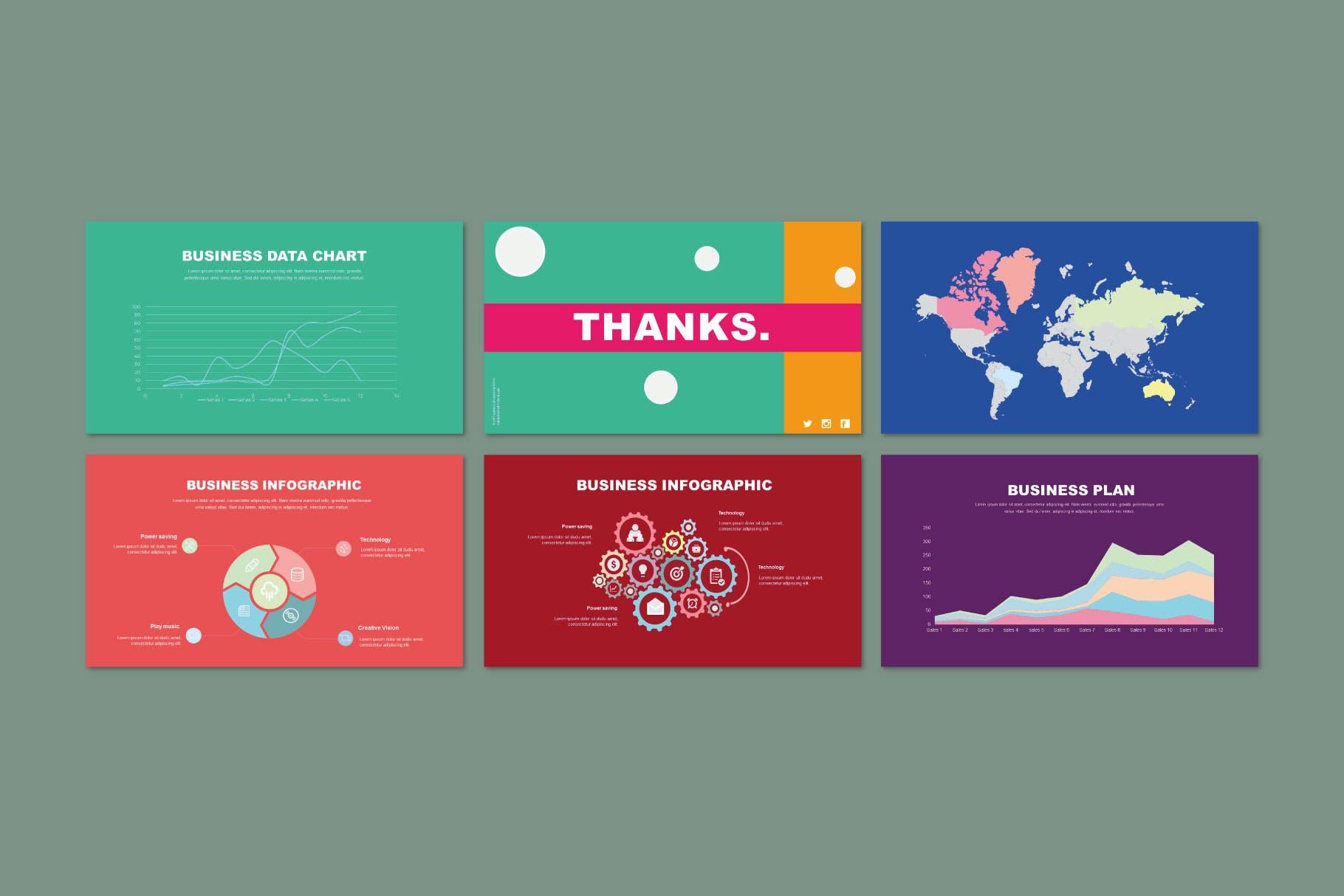 时尚多彩策划案图文排版设计演示文稿模板 Misya – Powerpoint Template插图(9)