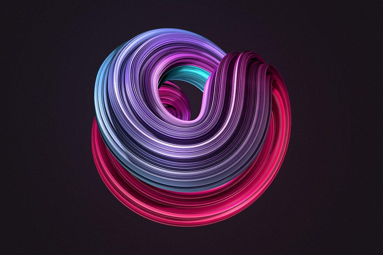 10款创意抽象炫彩3D扭曲图形PNG免扣图片设计素材 3D Twisted Decorative Shapes Backgrounds插图(9)