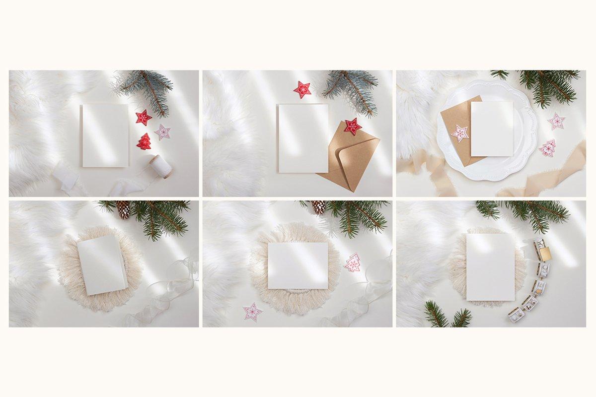 23款简约带阴影圣诞节贺卡卡片样机套装 Christmas Bundle Card Mockup插图(9)