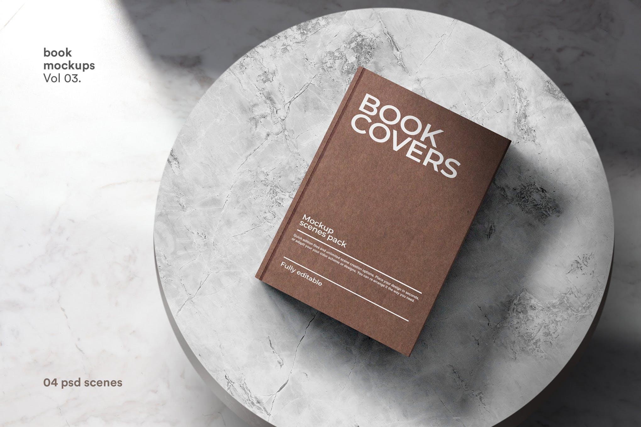 22款精装书画册封面设计展示样机PSD模板 Book Cover Mockups Pack插图(9)