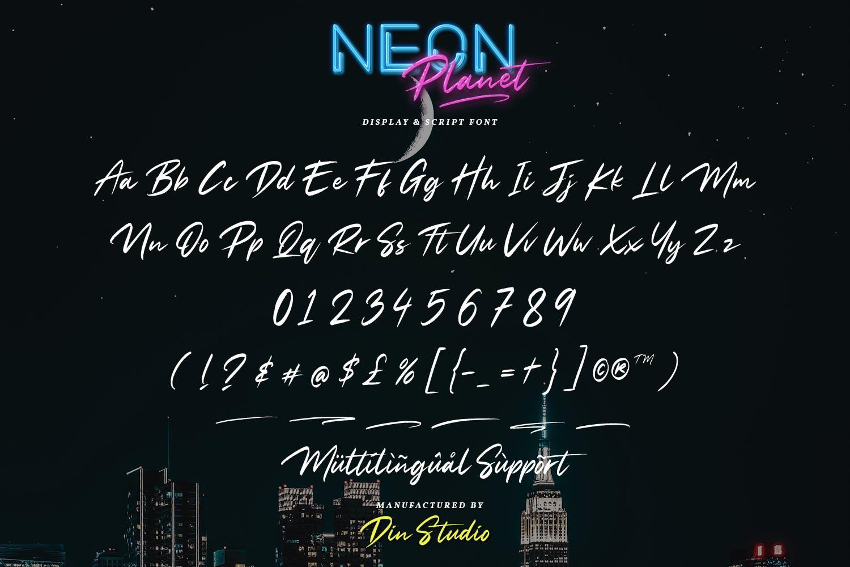 现代未来派手写英文字体素材 Neon Planet – Display Font Duo插图(9)