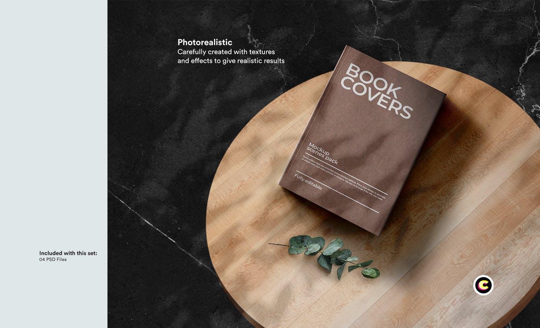 22款精装书画册封面设计展示样机PSD模板 Book Cover Mockups Pack插图(10)