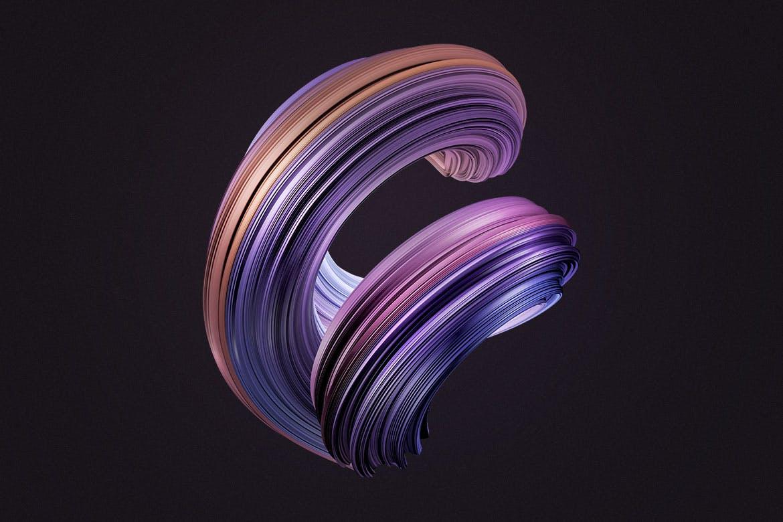10款创意抽象炫彩3D扭曲图形PNG免扣图片设计素材 3D Twisted Decorative Shapes Backgrounds插图(10)