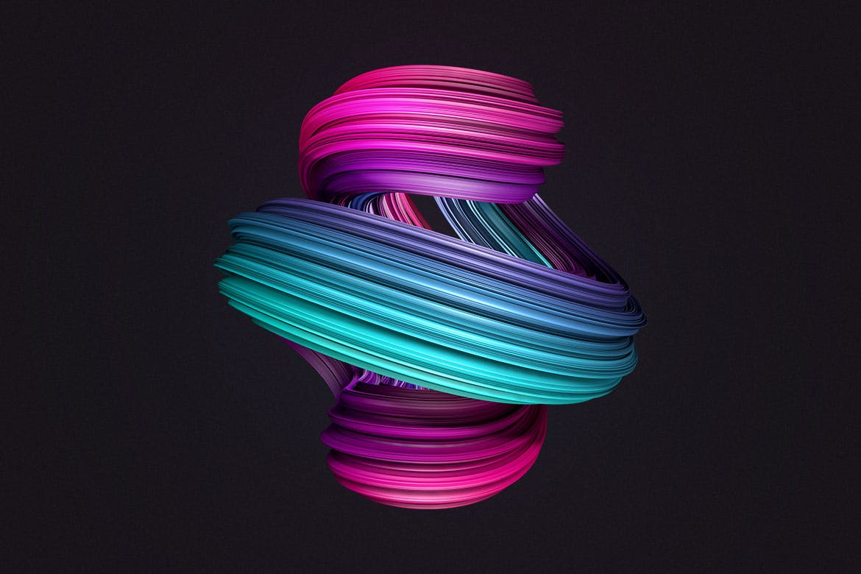 10款创意抽象炫彩3D扭曲图形PNG免扣图片设计素材 3D Twisted Decorative Shapes Backgrounds插图(11)