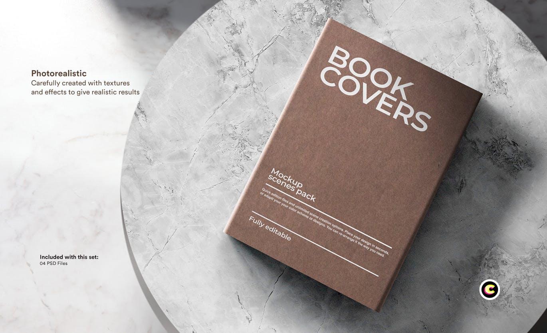 22款精装书画册封面设计展示样机PSD模板 Book Cover Mockups Pack插图(12)