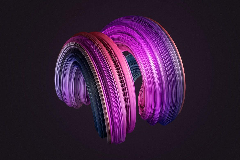10款创意抽象炫彩3D扭曲图形PNG免扣图片设计素材 3D Twisted Decorative Shapes Backgrounds插图(13)