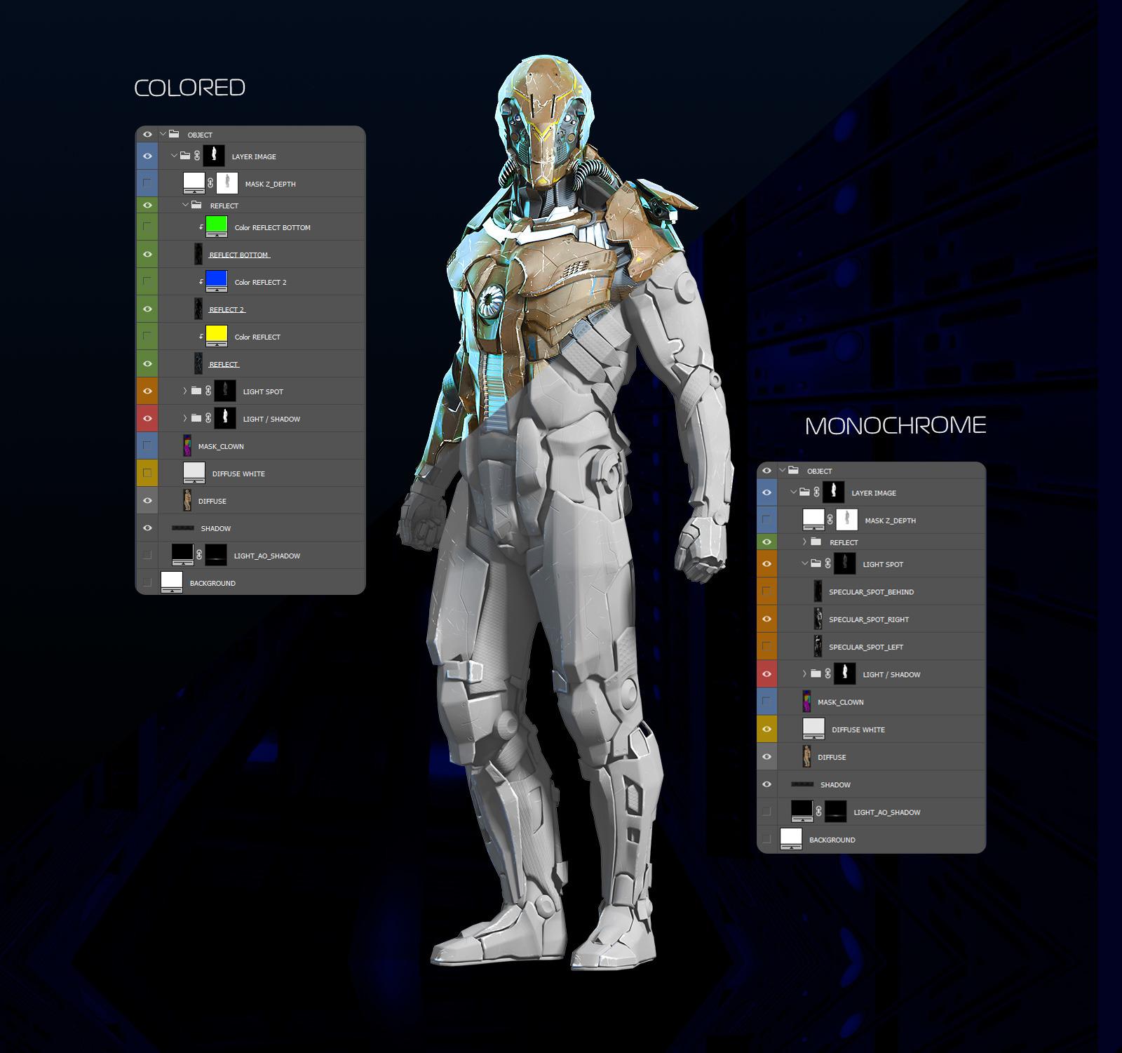 未来科幻金属变形盔甲机器人3D立体模型PS设计源文件 Security Robots #1插图(2)