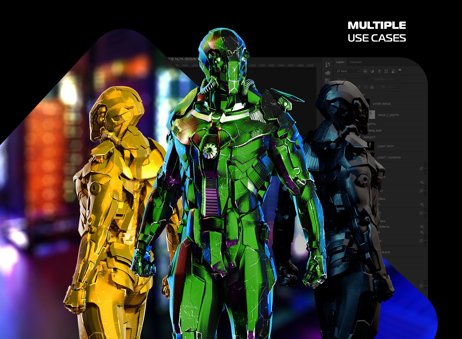 未来科幻金属变形盔甲机器人3D立体模型PS设计源文件 Security Robots #1插图(4)