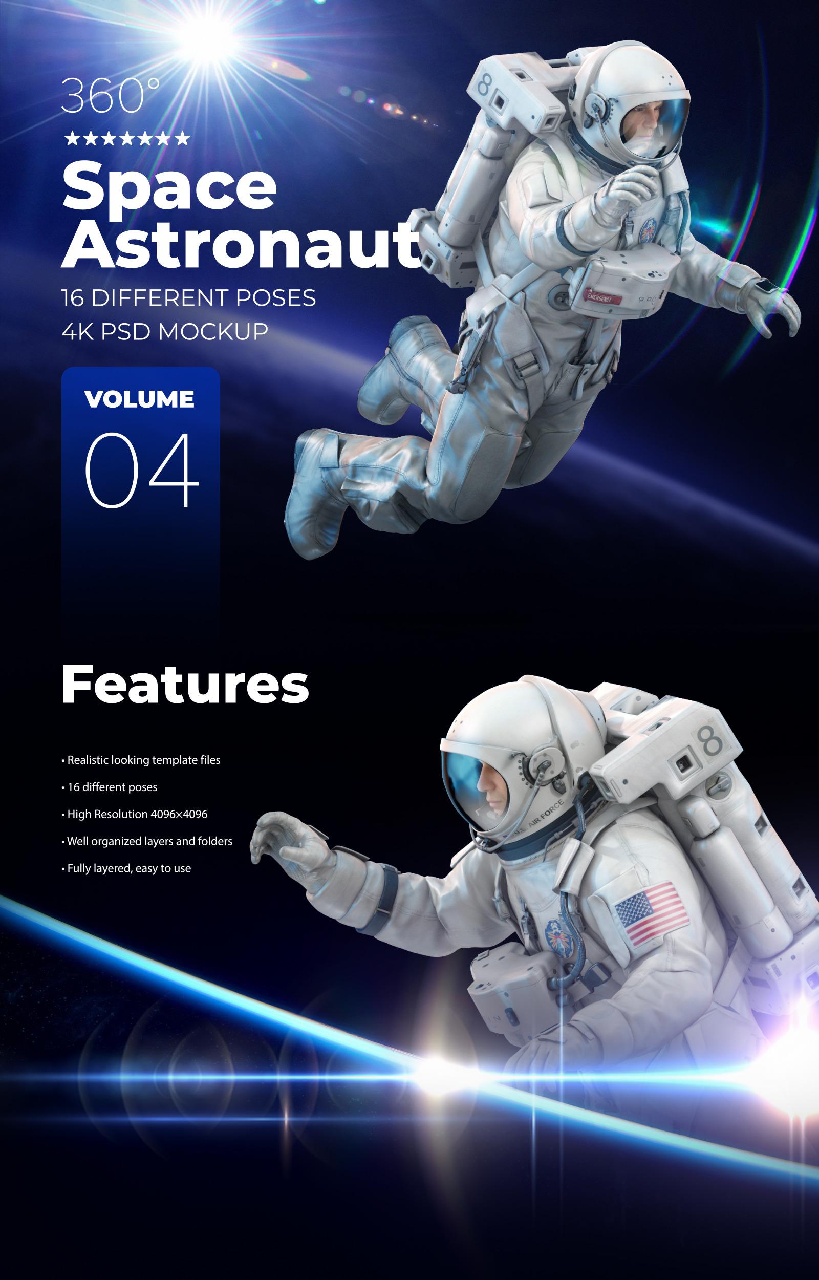 16款多角度太空宇航员3D模型平面设计PS素材源文件 3D Mockup Space Astronaut #04插图