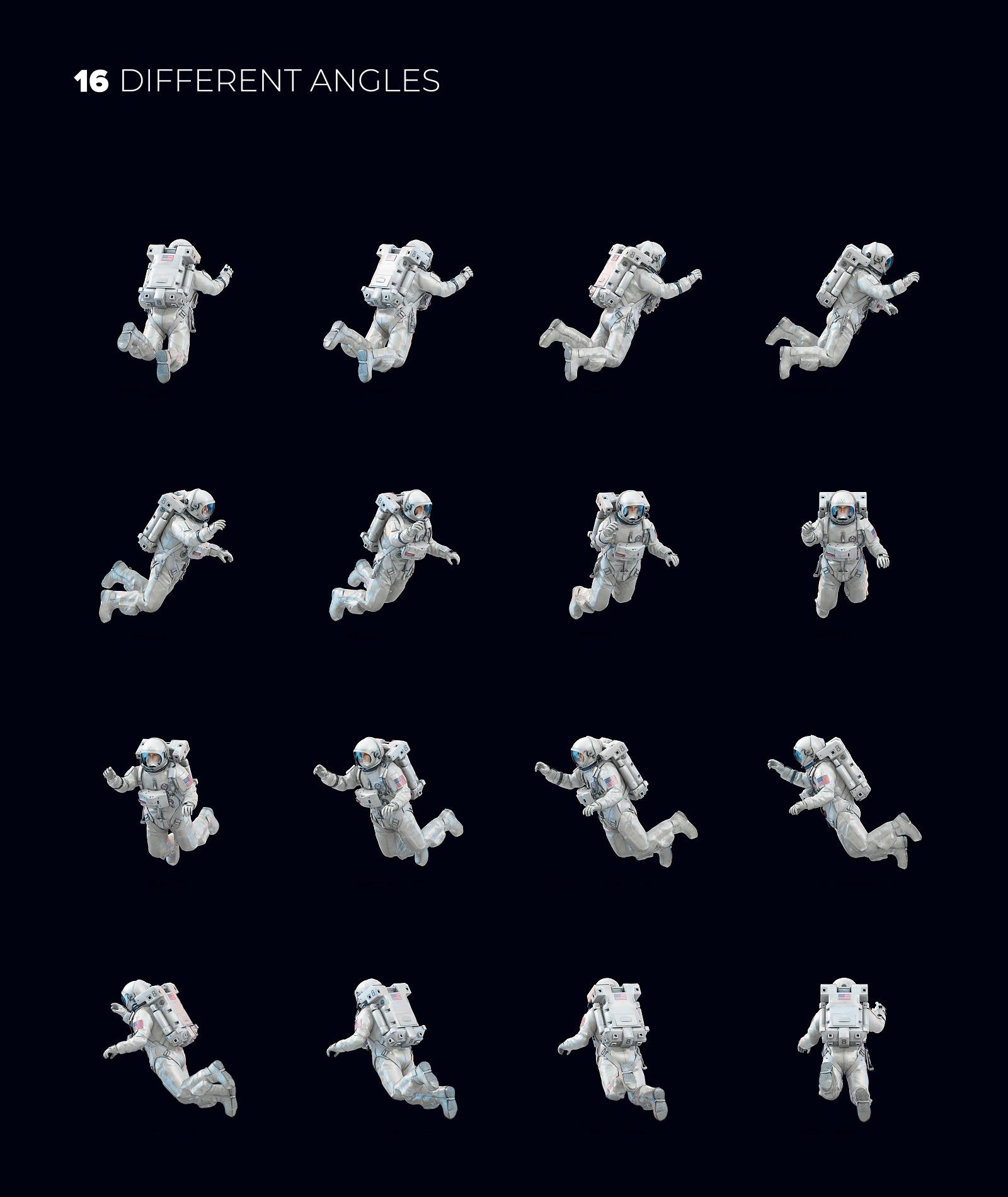 16款多角度太空宇航员3D模型平面设计PS素材源文件 3D Mockup Space Astronaut #04插图(1)