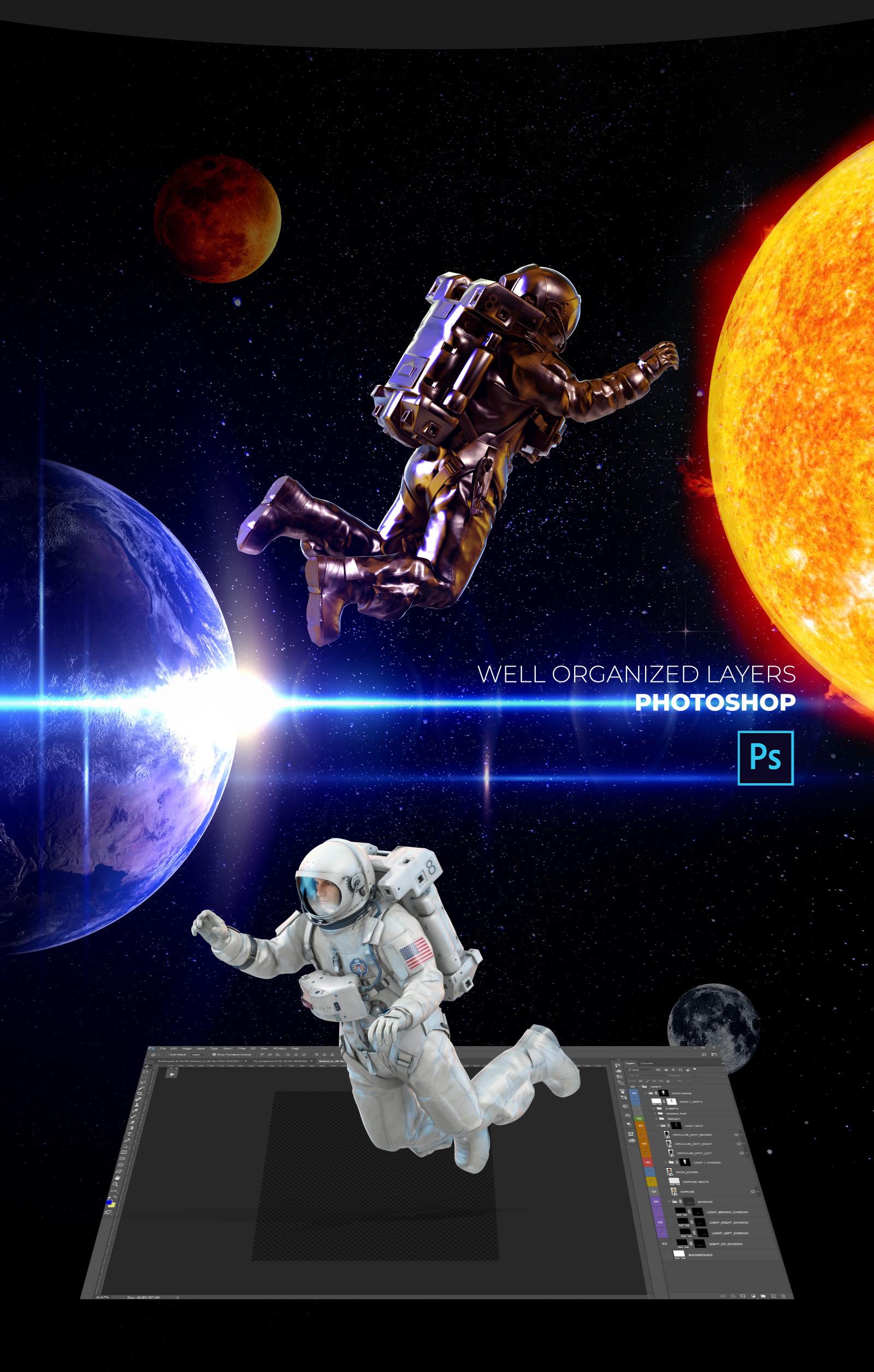 16款多角度太空宇航员3D模型平面设计PS素材源文件 3D Mockup Space Astronaut #04插图(3)