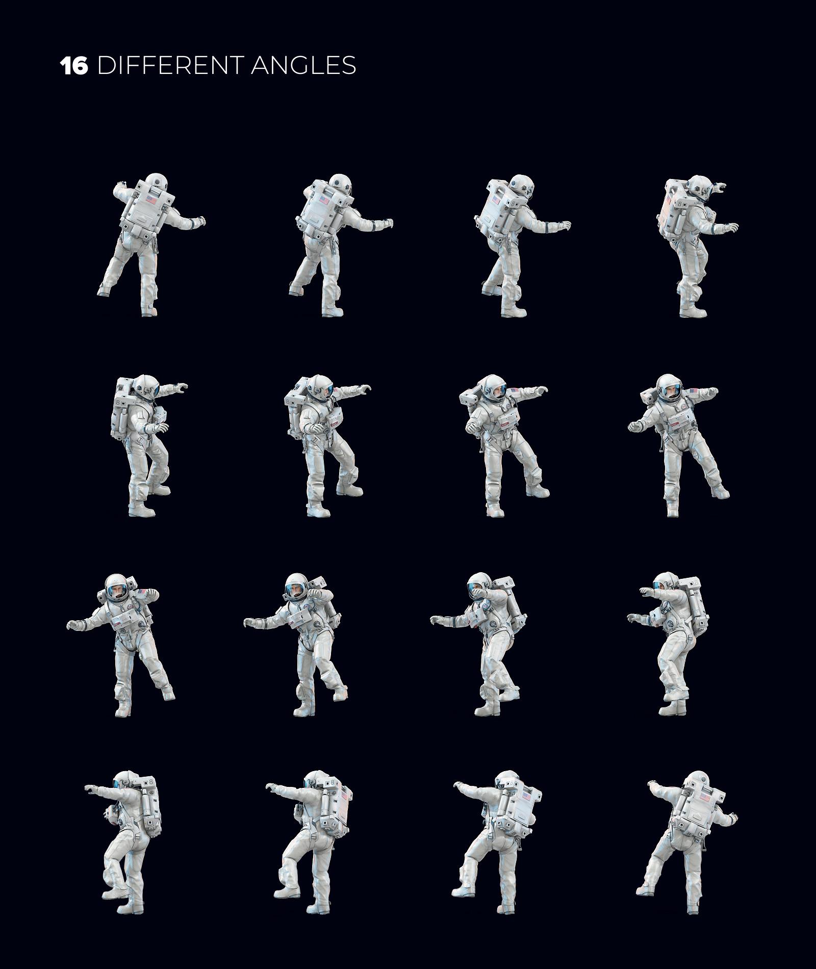 16款多角度太空宇航员3D模型平面设计PS素材源文件 3D Mockup Space Astronaut #11插图(1)