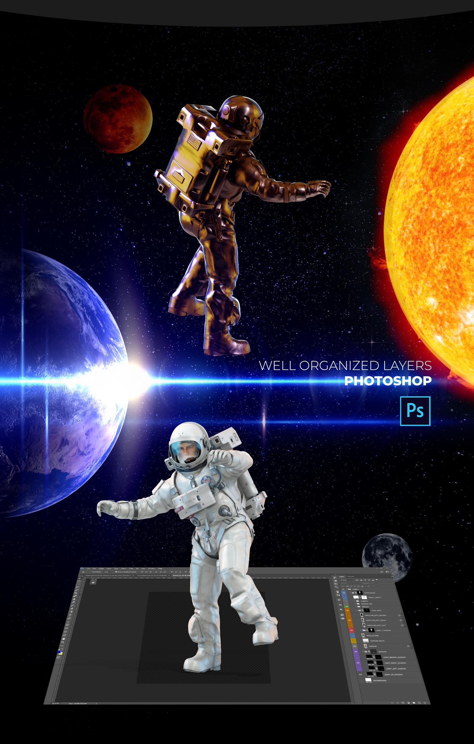 16款多角度太空宇航员3D模型平面设计PS素材源文件 3D Mockup Space Astronaut #11插图(3)