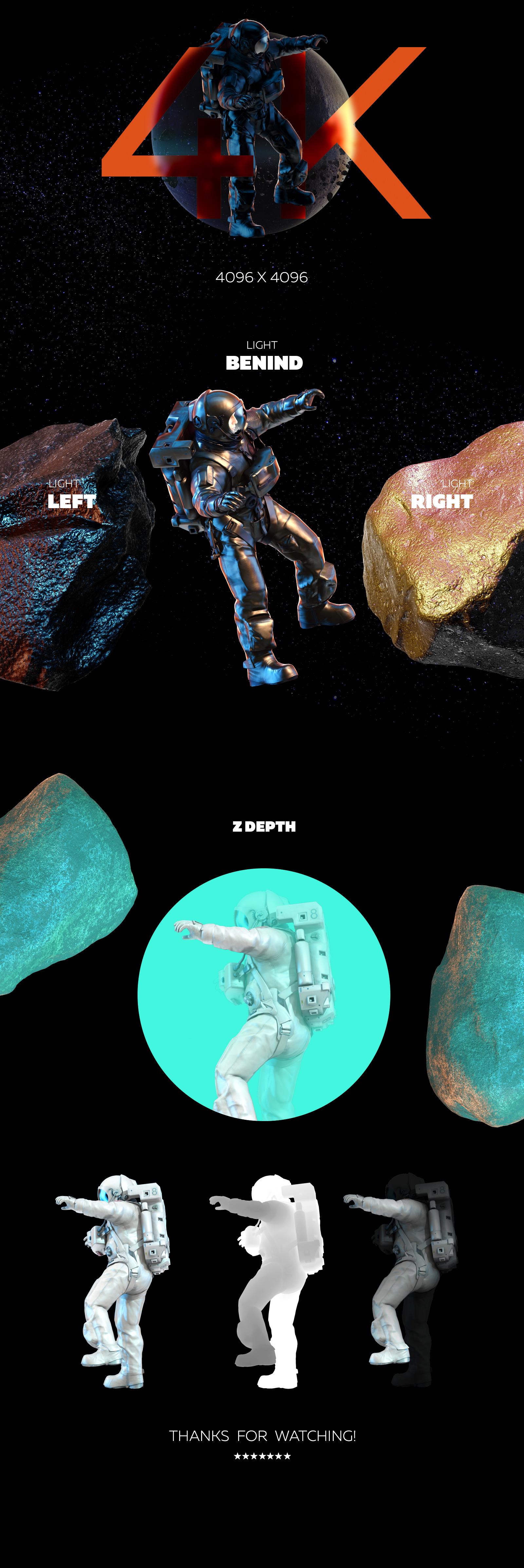 16款多角度太空宇航员3D模型平面设计PS素材源文件 3D Mockup Space Astronaut #11插图(4)