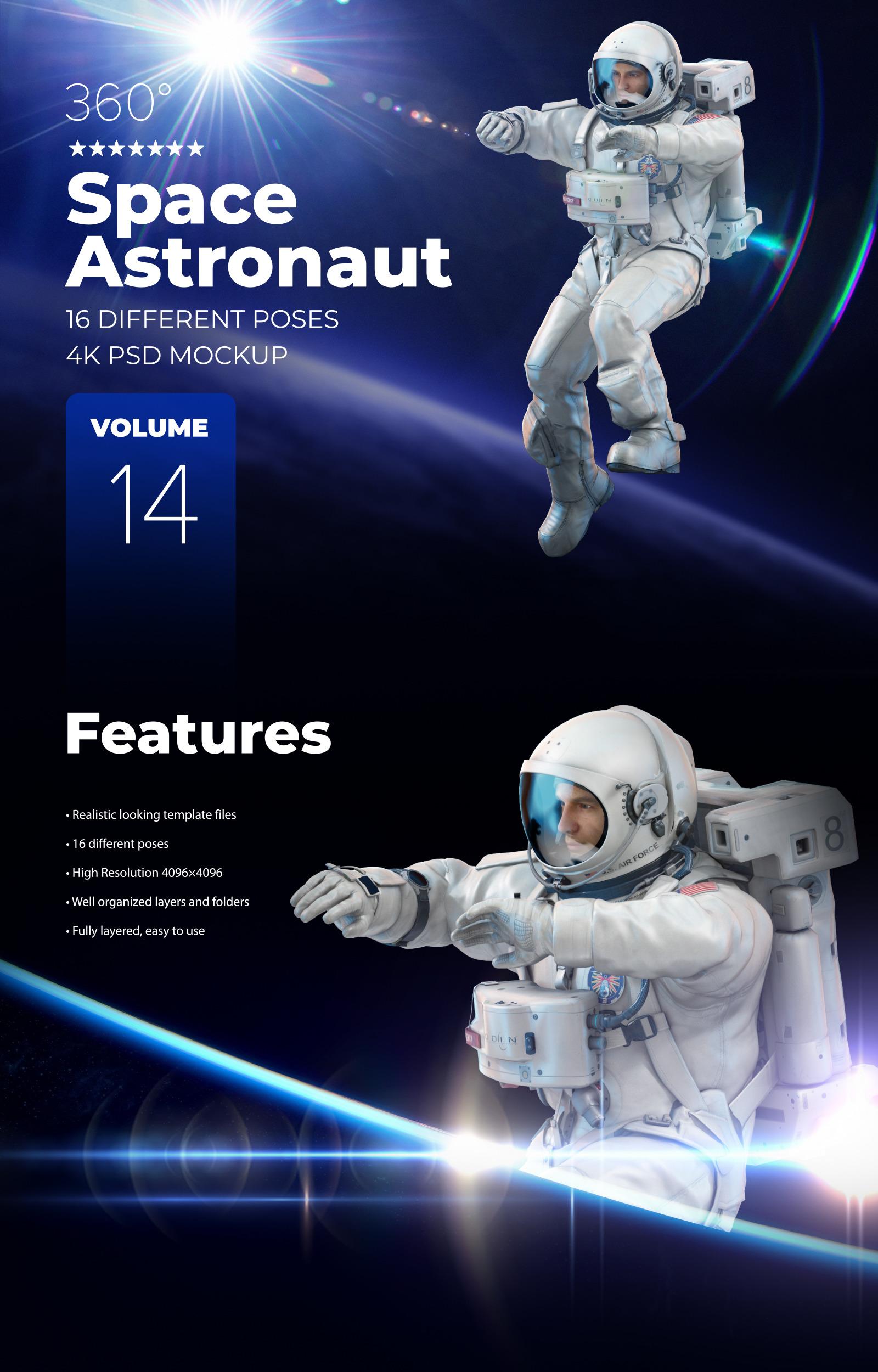 16款多角度太空宇航员3D模型平面设计PS素材源文件 3D Mockup Space Astronaut #14插图